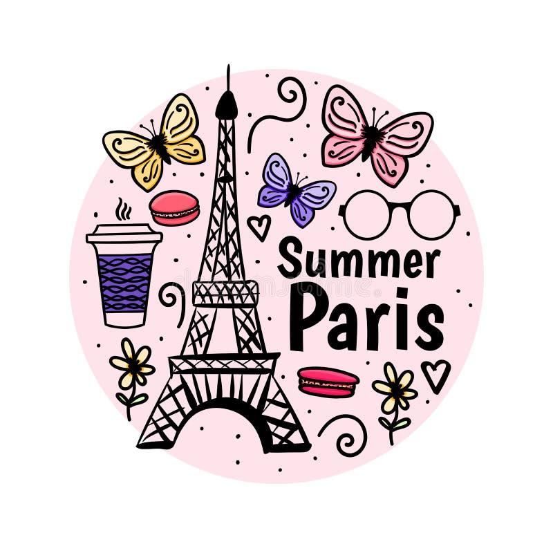 Druck-Sommer Paris mit Eiffelturm und Schmetterling Weiblicher Feiertag des Entwurfs Gezeichnete Skizze des Vektors Hand stock abbildung