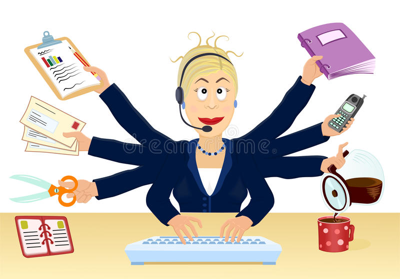 Druck und Multitasking im Büro vektor abbildung