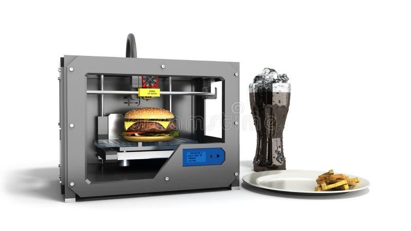 Druckburger des Druckers 3D auf einer weißen Wiedergabe des Hintergrundes 3d auf wh stock abbildung
