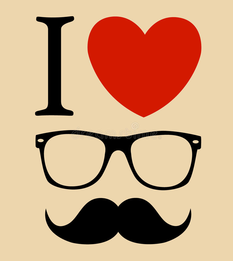 Drucken Sie i-Liebe Hippie-Art, -gläser und -schnurrbärte.  Hintergrund vektor abbildung