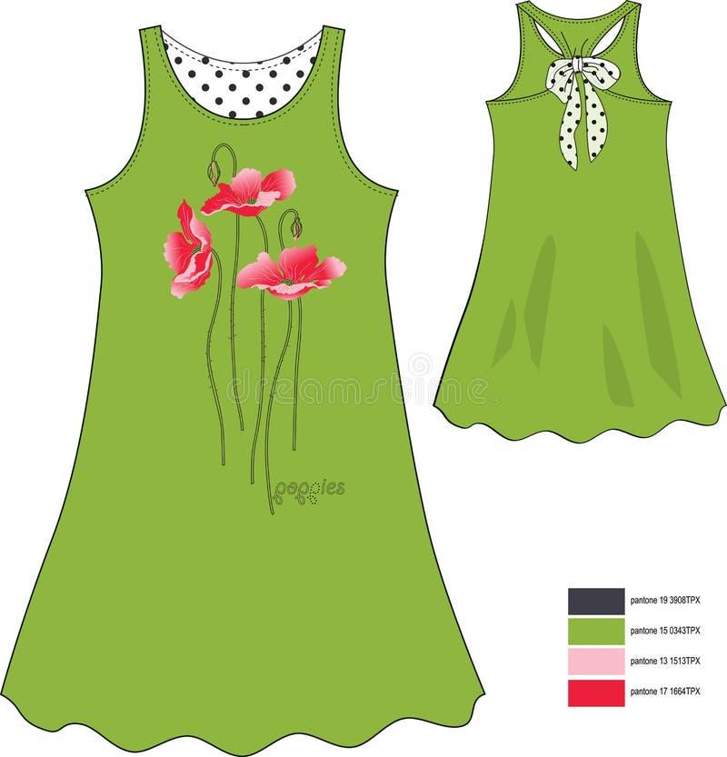 Drucken Sie rote Mohnblumen auf den sundress des Mädchens grünen mit schwarzen Kreisen lizenzfreies stockfoto