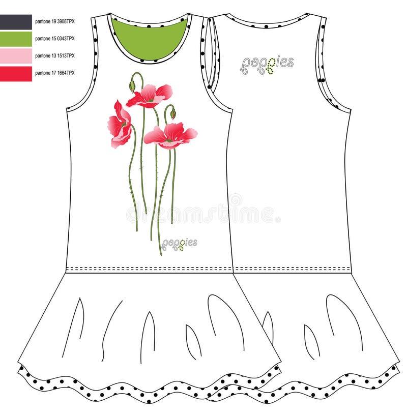 Drucken Sie rote vorderes und das hinter Mohnblumen und Muster sundresses lizenzfreie stockfotografie