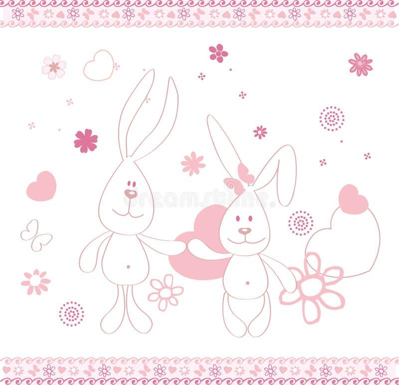 Drucken Sie zwei lustige Hasen und Hirschvektorillustrationen für Kinder stockbild