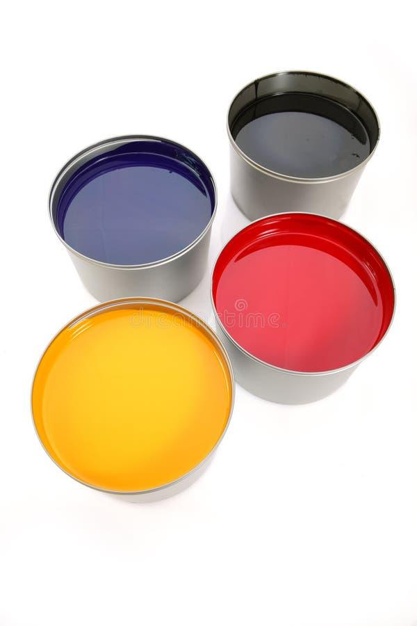 Druckenpressetinten, cyan-blau, magentarot, Gelb lizenzfreie stockfotos