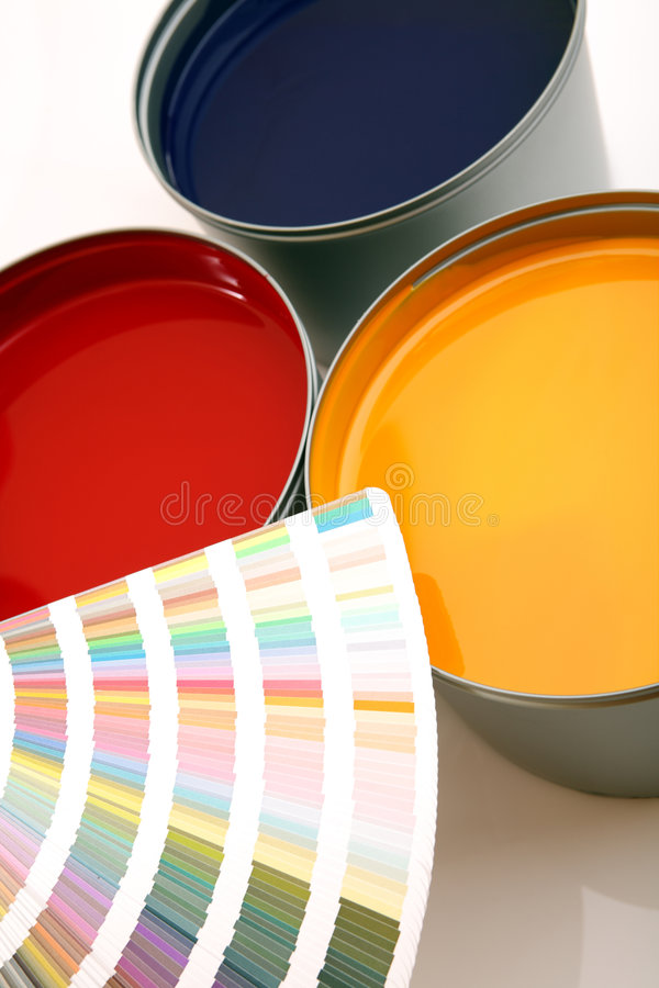 Druckenpressetinten, cyan-blau, magentarot, Gelb stockfoto