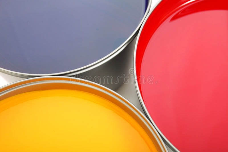 Druckenpressetinten, cyan-blau, magentarot, Gelb lizenzfreies stockbild