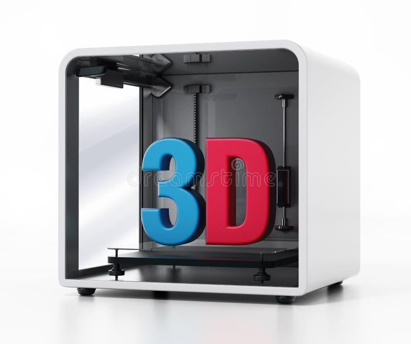 Drucker 3d lokalisiert auf weißem Hintergrund Abbildung 3D stock abbildung