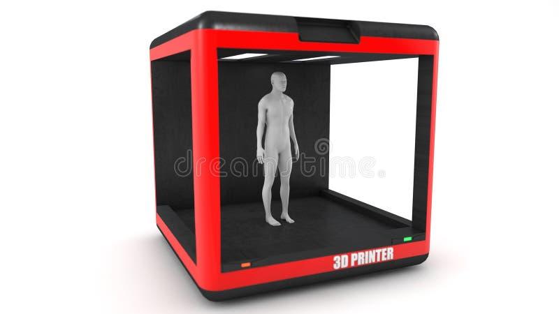 Drucker 3d und menschlicher Kopf lizenzfreie abbildung