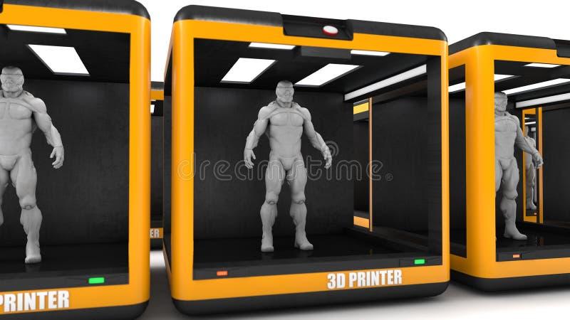 Drucker- 3d und weißerhintergrund stockfotografie