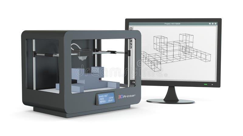Drucker 3d, von Skizze zu Prototyp lizenzfreie abbildung