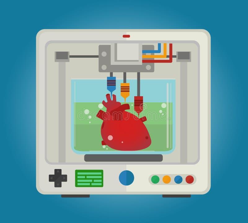 Drucker 3D, zum von dreidimensionalen Modellen für die inneren Organe zu drucken Herztransplantation lizenzfreie abbildung