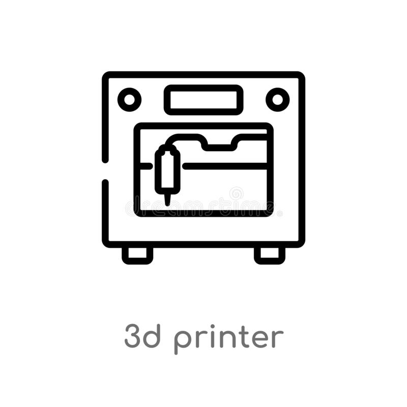 Drucker-Vektorikone des Entwurfs 3d lokalisiertes schwarzes einfaches Linienelementillustration vom zuk?nftigen Technologiekonzep stock abbildung