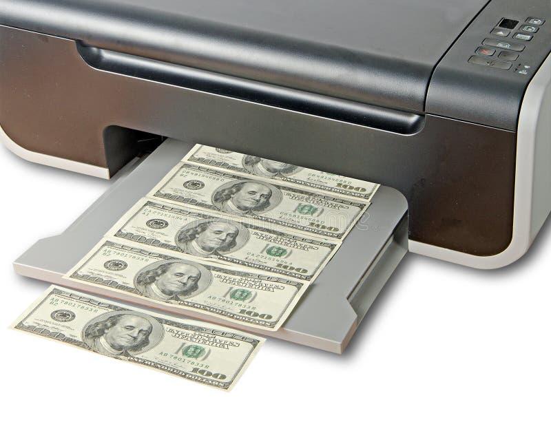 Druckerdrucken-Fälschungsdollar stockfoto