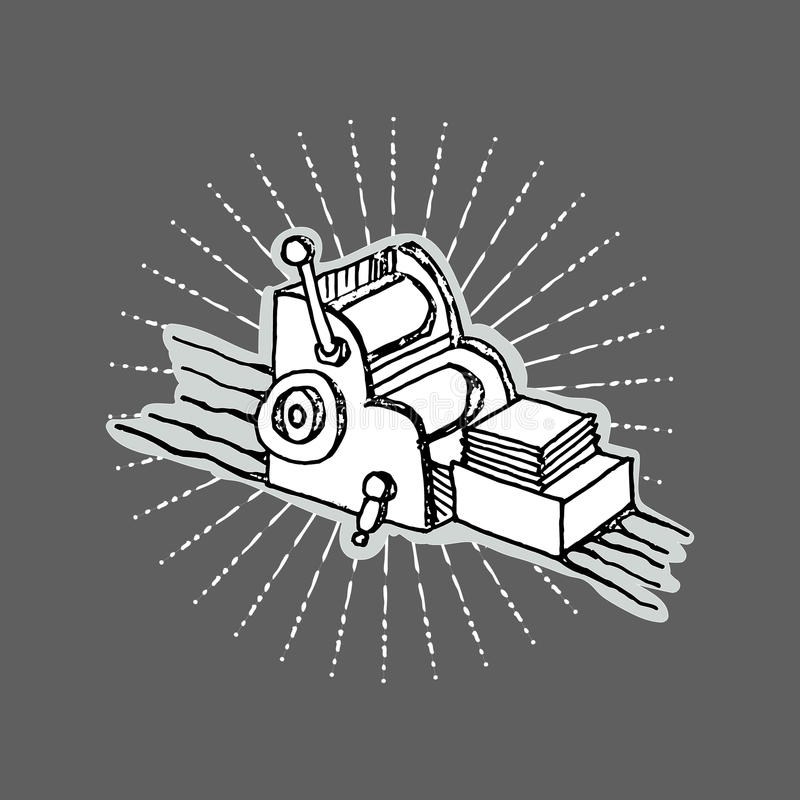 Druckereilogotischplattendruckmaschine stock abbildung
