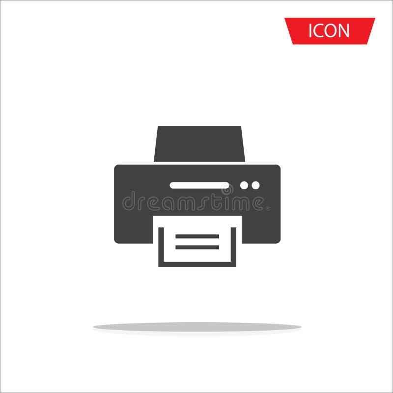 Druckerikone, Bürodruckerikone lokalisiert auf weißem Hintergrund lizenzfreie abbildung