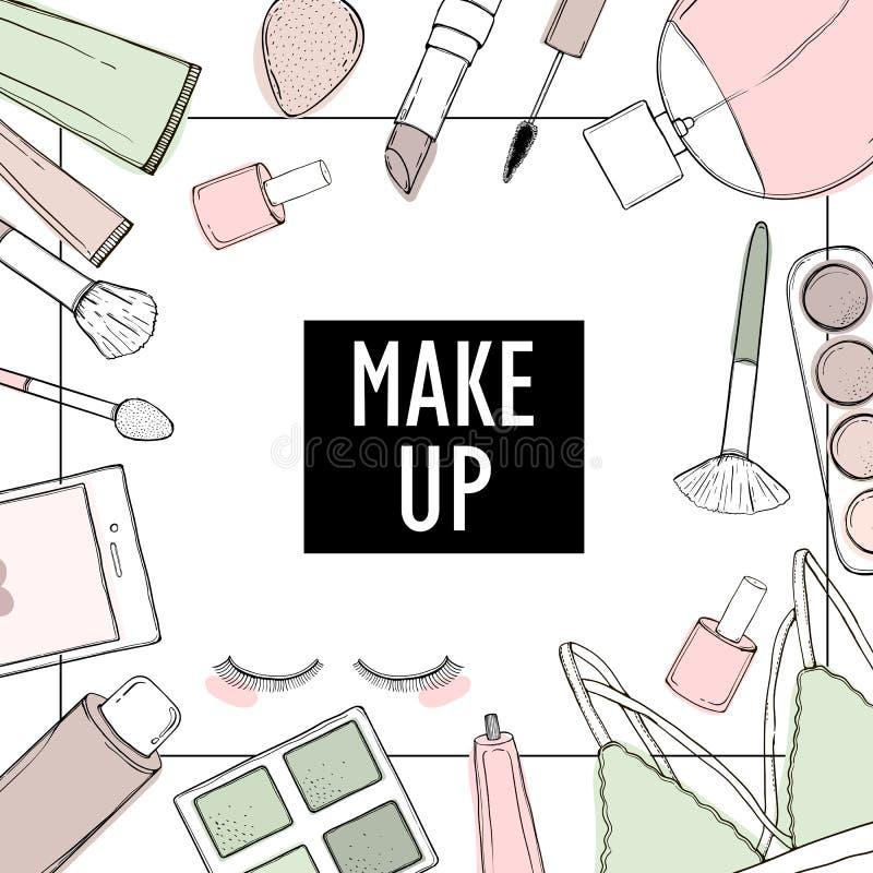 Druckerzeugnisse für einen Kosmetiksalon und Kosmetik, für Bloggers und Standorte stock abbildung