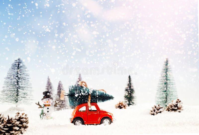 Druckgegossenes Modellauto transportiert den Weihnachtsbaum in einem schneebedeckten und Wintermantel lizenzfreie abbildung