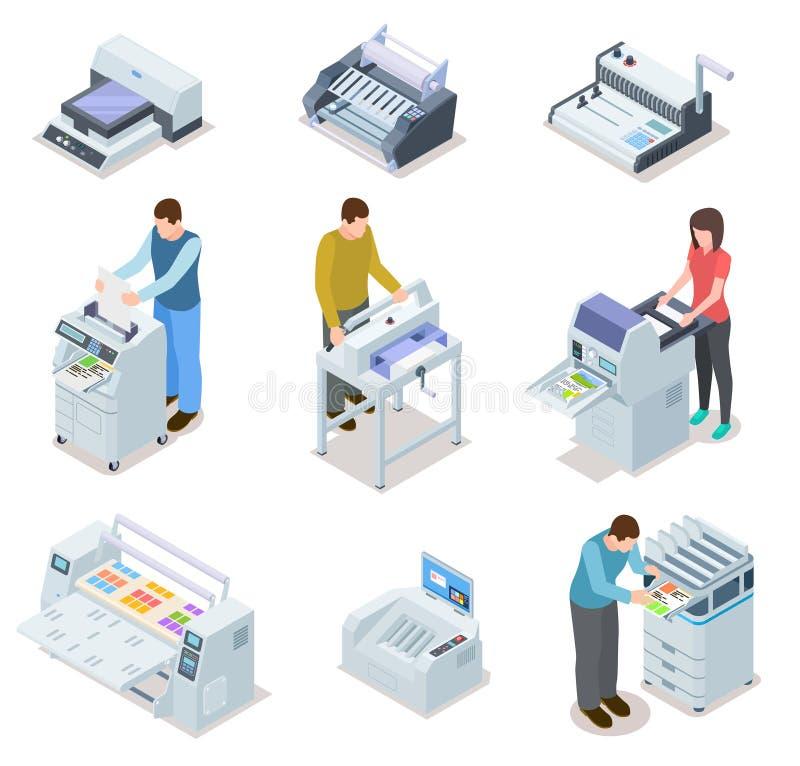 Druckhausausrüstung Druckerplotter, Offsetschneidemaschinen und Leutearbeitskräfte Industrielles polygraphy isometrisch stock abbildung