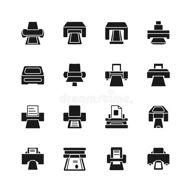Druckikonen- und Druckdokumentenzeichen Elektrische Bürodrucker lizenzfreie abbildung