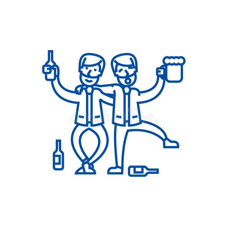 Druckit folk, berusat parti, två män som dricker linjen symbolsbegrepp Berusat folk, berusat parti, två män som dricker den plana stock illustrationer