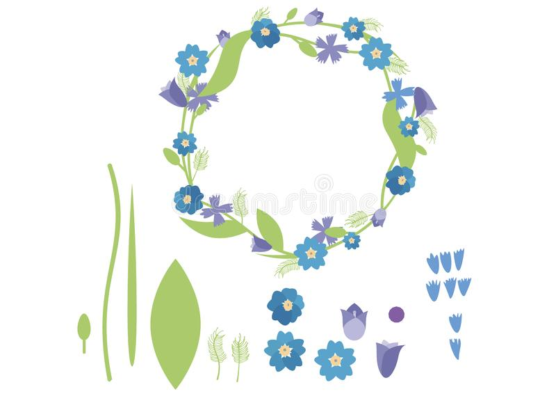 Druckkarikaturgekritzelfarbflacher Kranzsatz-Satzsommer grün-blau stock abbildung