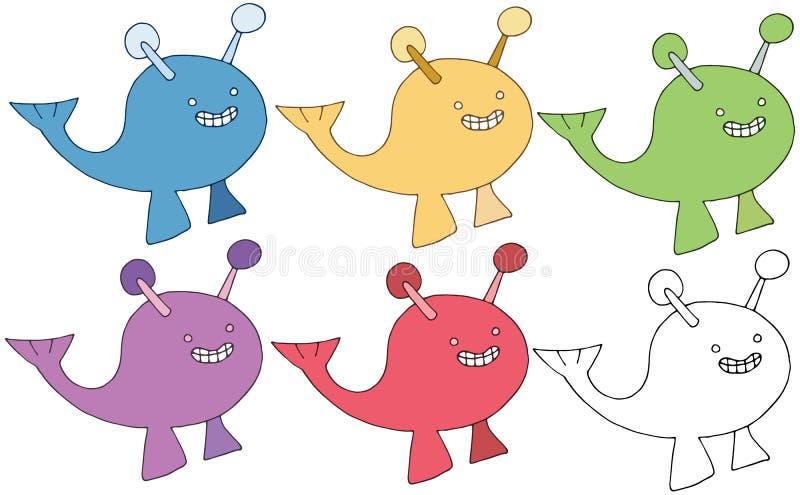 Druckkarikaturgekritzelfarbwalmonster-Satzhand zeichnen glückliches stock abbildung