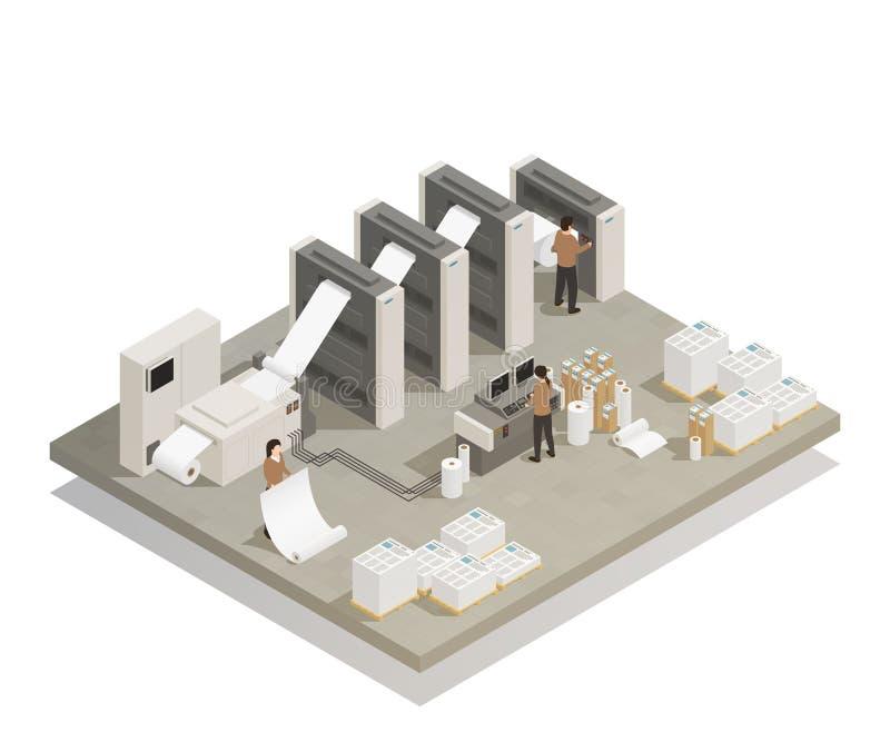 Druckproduktionsverfahren-isometrische Zusammensetzung stock abbildung