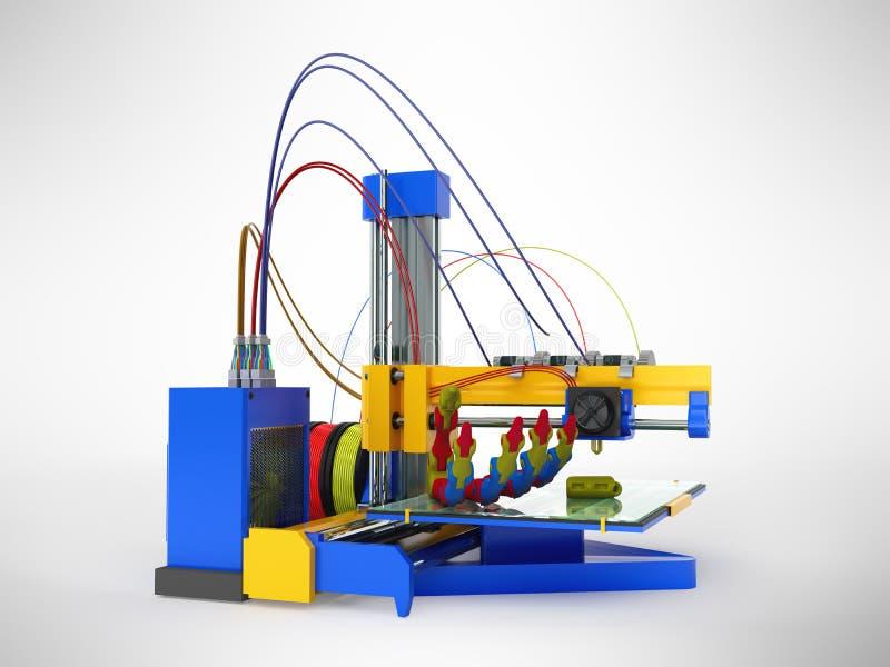 Druckprothese 3D des Druckers 3d übertragen auf grauem Hintergrund vektor abbildung