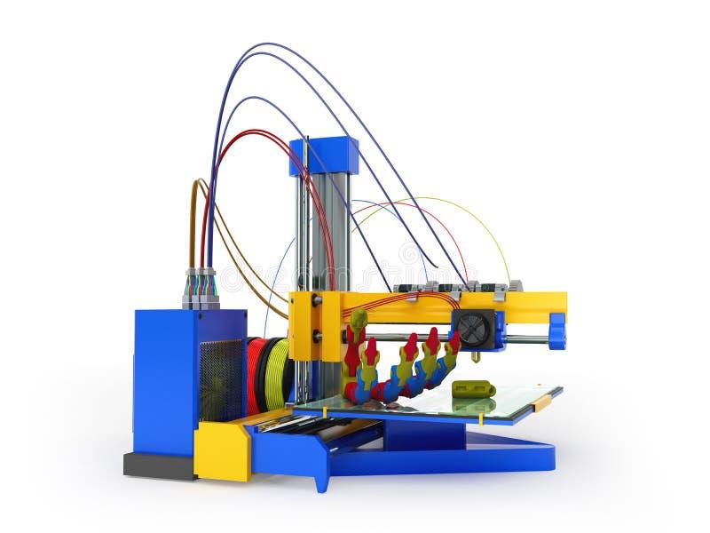 Druckprothese 3D des Druckers 3d übertragen auf Weiß lizenzfreie abbildung