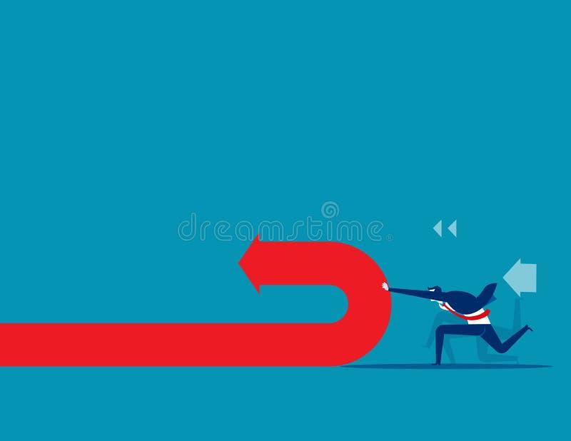 Druckund ändernde Pfeilrichtung des Geschäftsmannes Konzeptgesch?fts-Vektorillustration stock abbildung