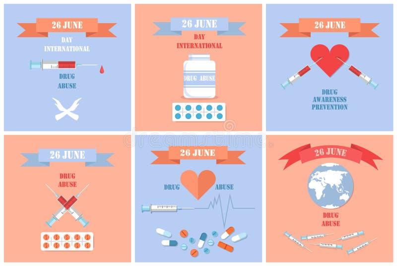 Drug Abuse Awareness Posters International Day 26 stock illustration