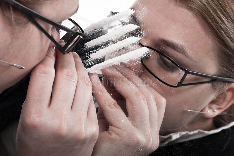 Download Drug Addicted Businesswoman Snorting Cocaine Stock Images - Image: 24874554