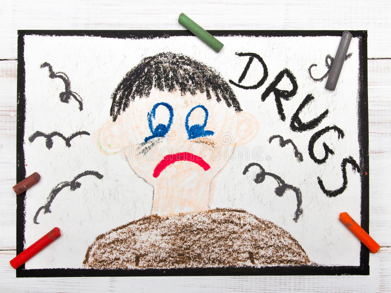 Drug addicted person. Sad and depressed man royalty free stock images