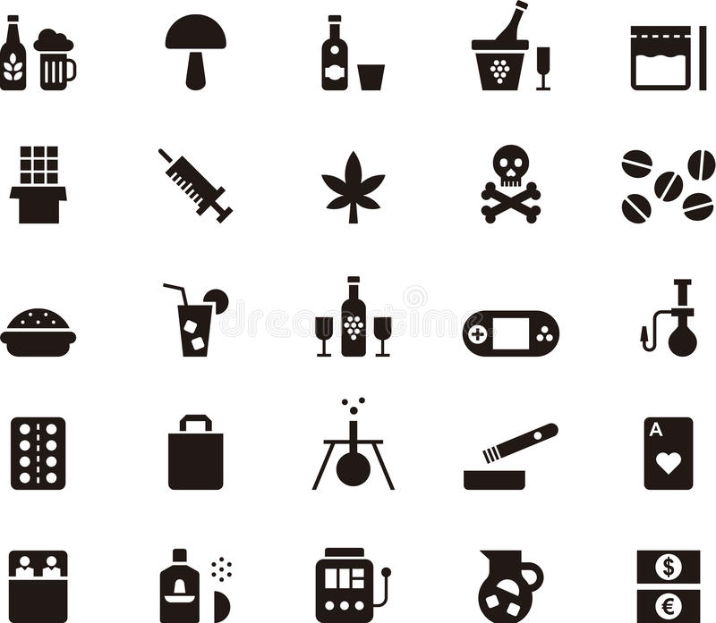 Drug and addiction icon set. Set of black and white glyph flat icons relating to drugs and addiction vector illustration