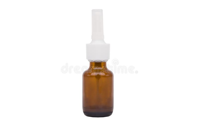 Drug bottle isolated on white background. Single brown bottle with drug royalty free stock photography