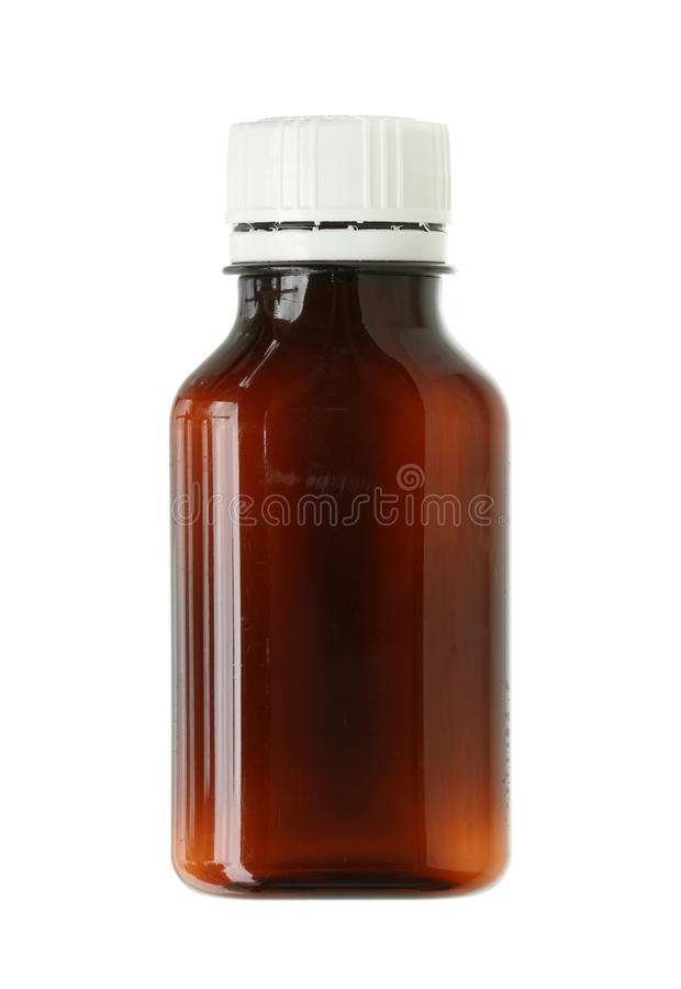 Drug bottle. Opaque drug bottle isolated on white background royalty free stock photography