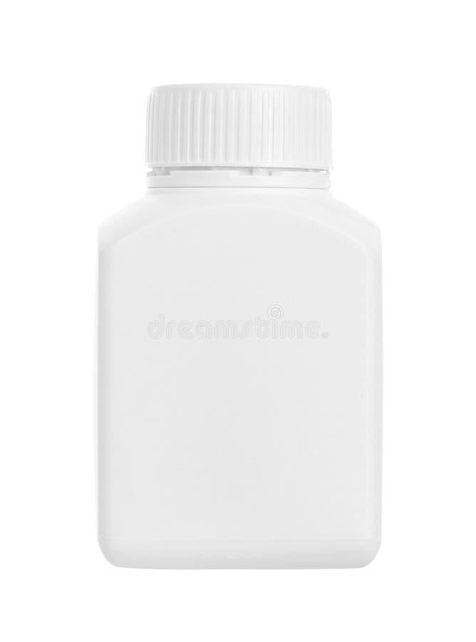 Drug bottle. Plastic drug bottle isolated on white background stock image