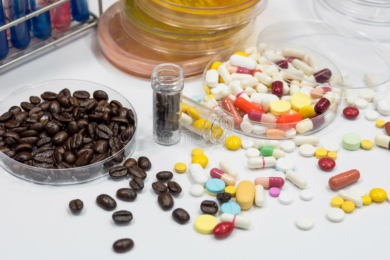 Drug and coffee test in laboratory,pathogen culture for drug and. Coffee stock images