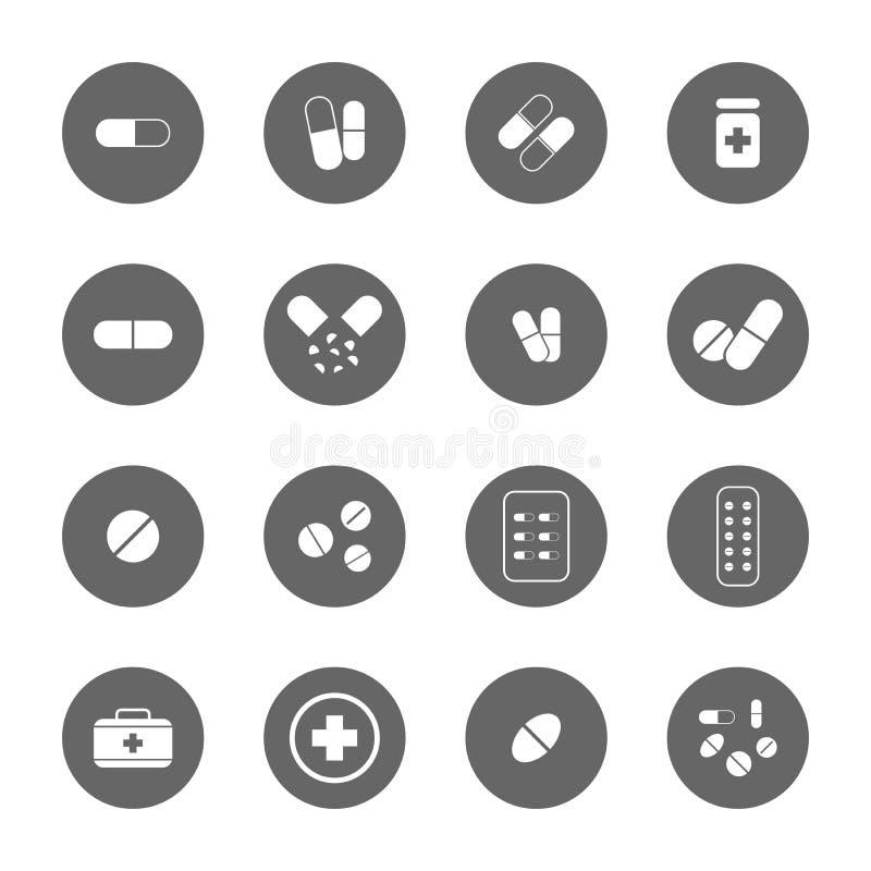 Drug icons set stock illustration