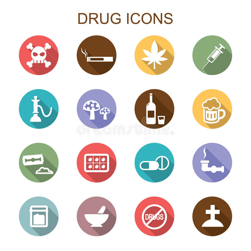 Drug long shadow icons vector illustration