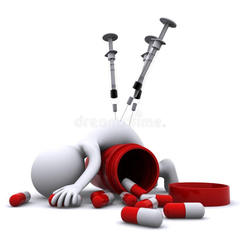 Drug overdose concept royalty free illustration