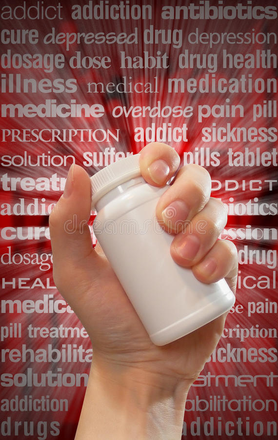 Drug and Pill Abuse Hand Bottle royalty free stock images