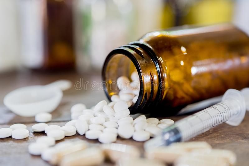 Drug prescription for treatment medication. Pharmaceutical medic royalty free stock image