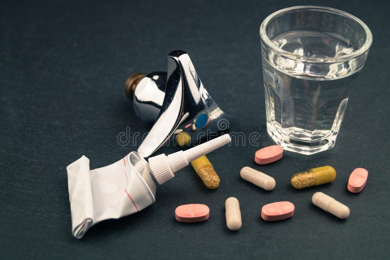 Drug residues in drinking water stock photos