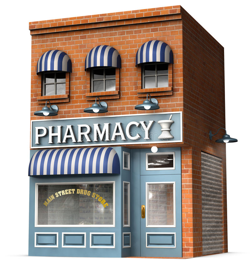 Drug Store. Stylized version of an iconic American drug store isolated on a white background with clipping path