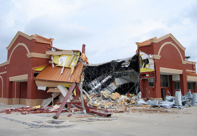Drug Store Demolition stock photo