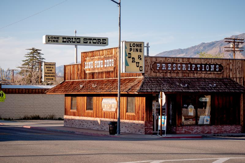 Drug store in the historic village of Lone Pine - LONE PINE CA, USA - MARCH 29, 2019. Drug store in the historic village of Lone Pine - LONE PINE CA, UNITED royalty free stock images