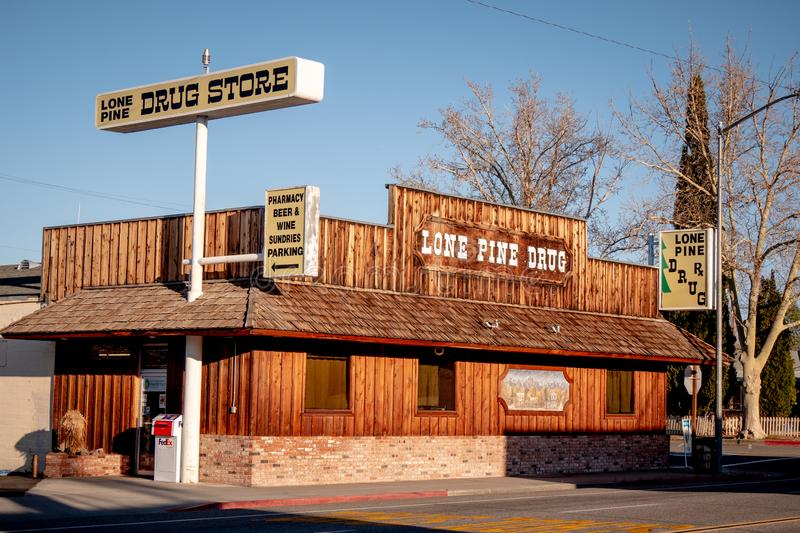 Drug store in the historic village of Lone Pine - LONE PINE CA, USA - MARCH 29, 2019. Drug store in the historic village of Lone Pine - LONE PINE CA, UNITED stock photography