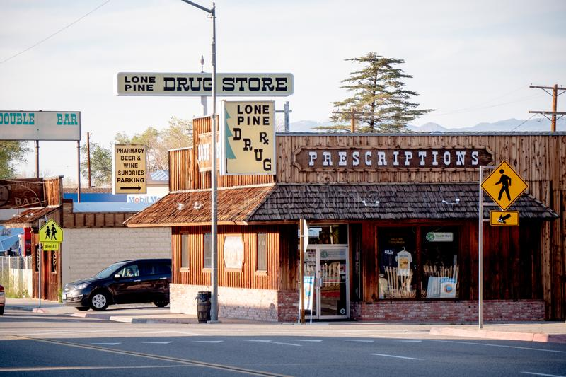 Drug store in the historic village of Lone Pine - LONE PINE CA, USA - MARCH 29, 2019. Drug store in the historic village of Lone Pine - LONE PINE CA, UNITED royalty free stock photos