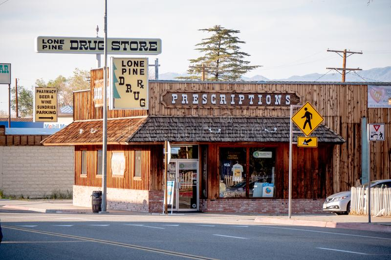 Drug store in the historic village of Lone Pine - LONE PINE CA, USA - MARCH 29, 2019. Drug store in the historic village of Lone Pine - LONE PINE CA, UNITED royalty free stock photography